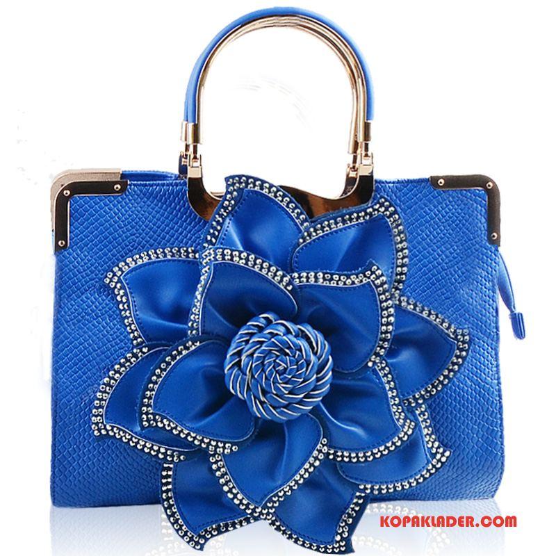 Dam Handväskor Rea Kvinna Trend Europa Rose Strass Blå