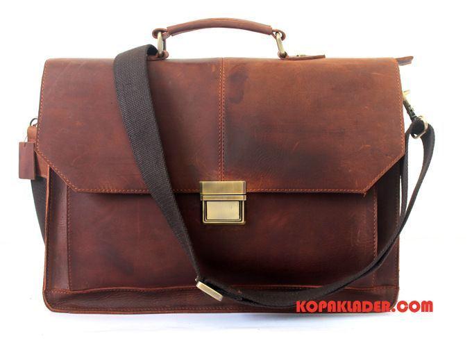 Herr Handväskor Online Läder Retro Portfölj British Väska