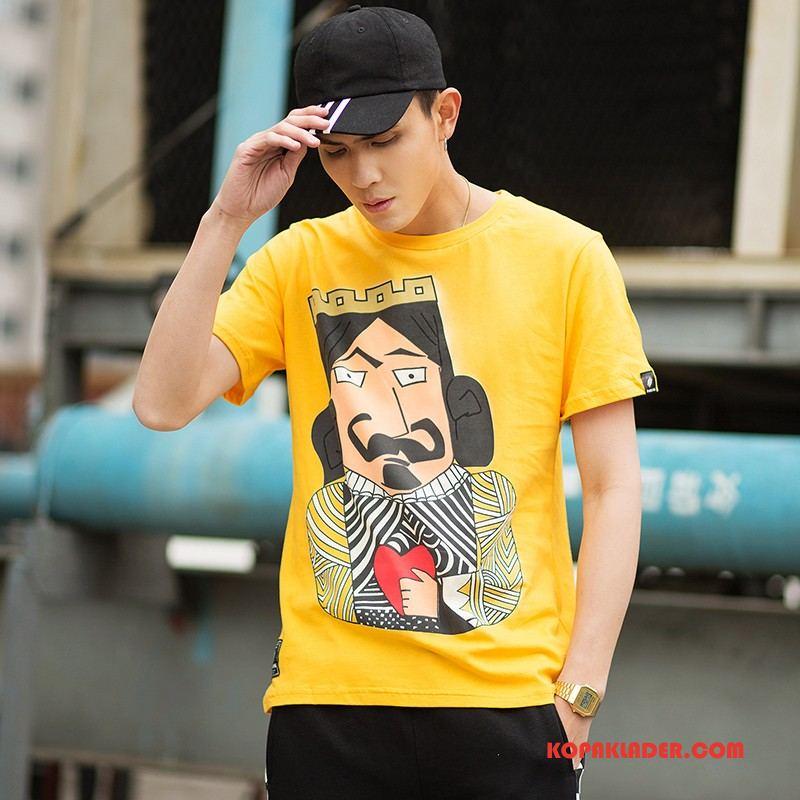 Herr T-shirts Billig Trend Varumärke Tryck Lösa Bomull Violett