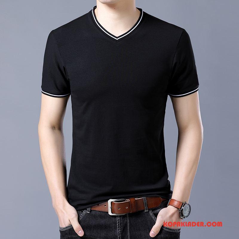 Herr T-shirts Rea Bottenskjorta Skinny Kortärmad Halv Ärm Trend Svart