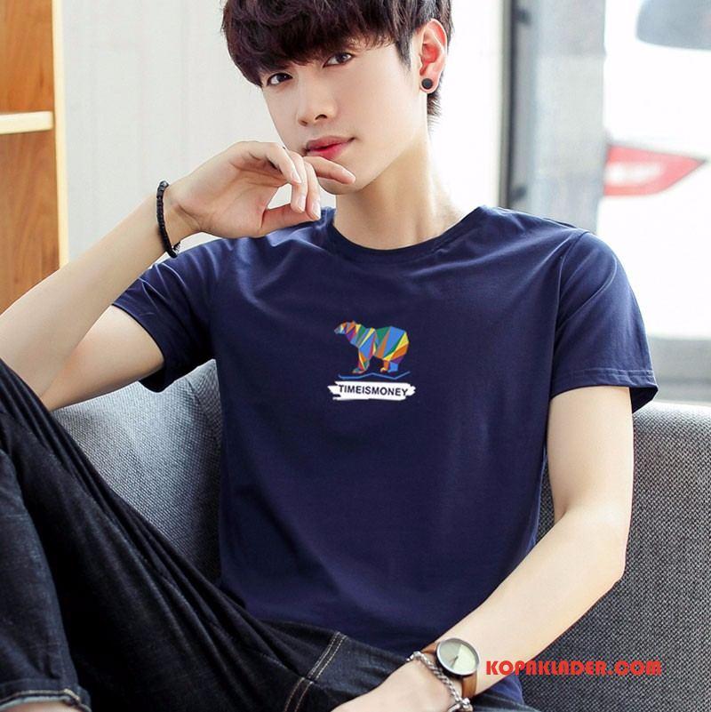 Herr T-shirts Till Salu Mode Män Vår Ärm Kortärmad Mörkblå