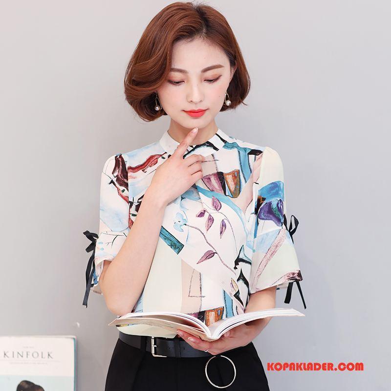 Dam Blus Rea Casual Tryck 2018 Eleganta Chiffong Vit