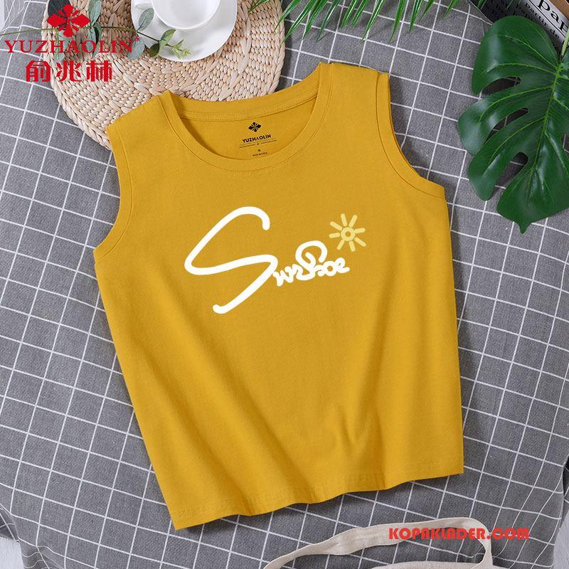 Dam Camisole Billig Feta Lösa Ytterkläder Sexig T-shirt Gul