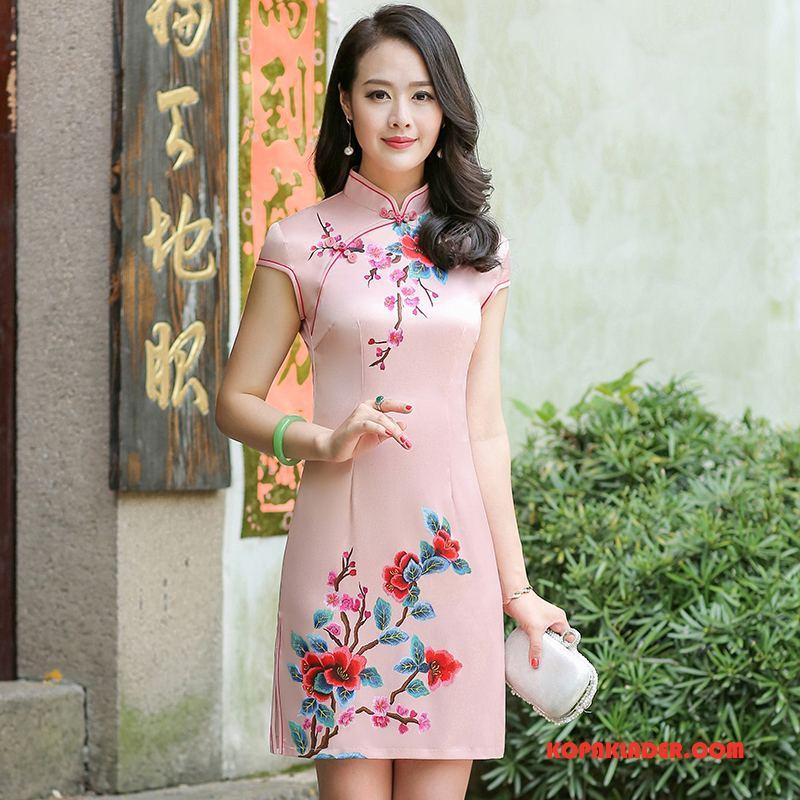 Dam Cheongsam Billig Mode Retro Blommor Klänning Korta Rosa