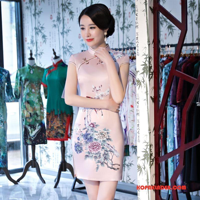 Dam Cheongsam Billigt Klänning Tråd Eleganta Trend Tunn Pulver