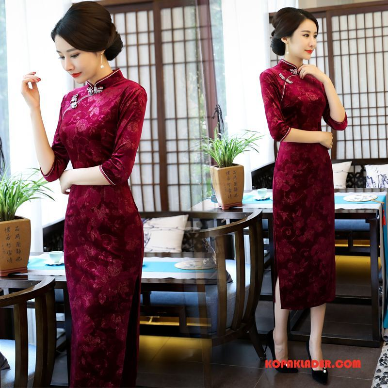 Dam Cheongsam Online Kyla Klänning Elegant Mode Tråd Röd