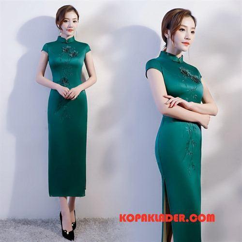 Dam Cheongsam Online Tråd Etniska Söt Mode Slim Fit Grön