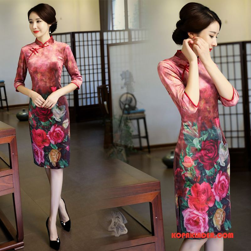Dam Cheongsam Rea Eleganta Mode 2018 Tryck Klänning Rosa