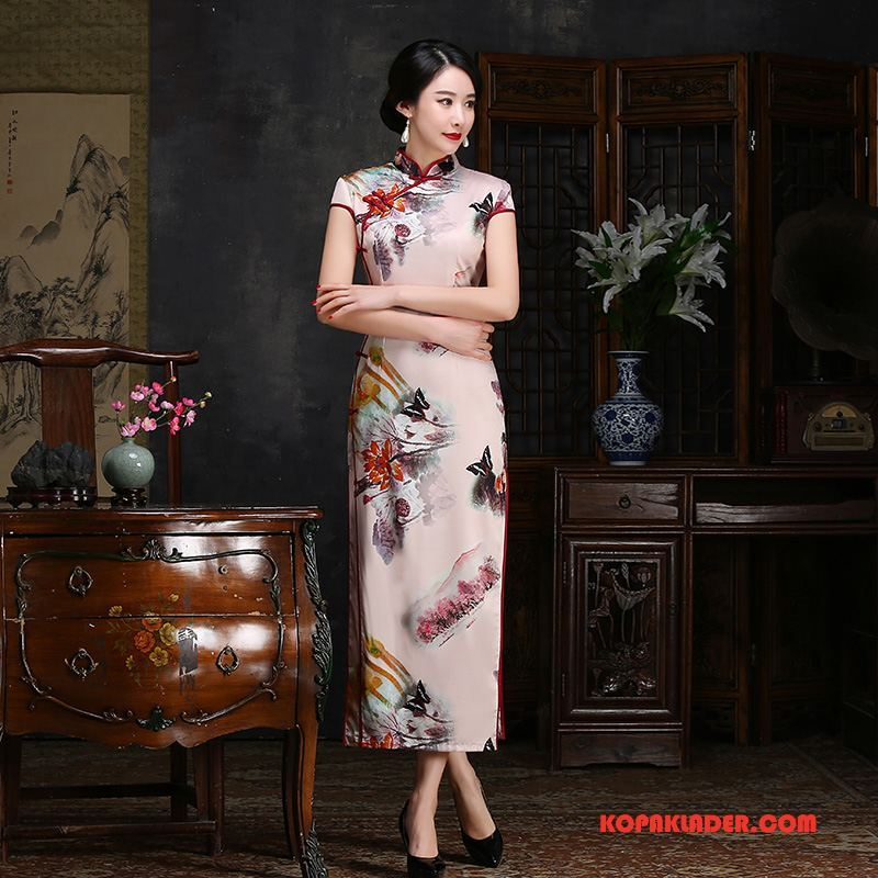 Dam Cheongsam Rea Slim Fit Trend Eleganta Sommar 2018 Rosa