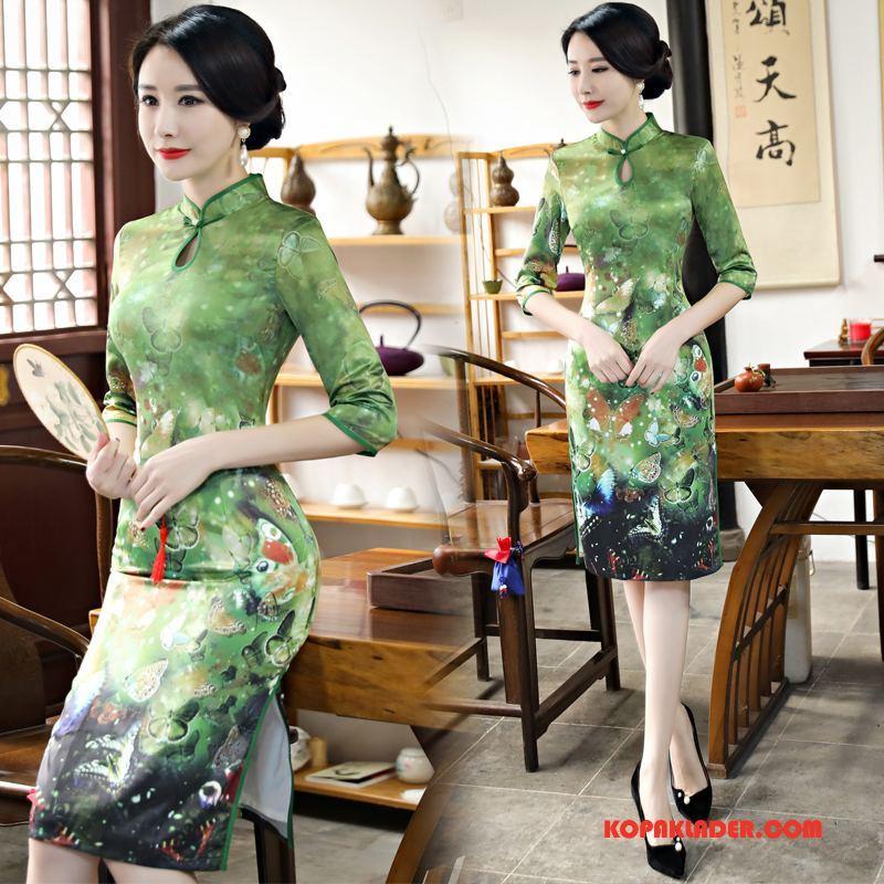 Dam Cheongsam Till Salu Kyla Vår Klänning Elegant Mode Grön