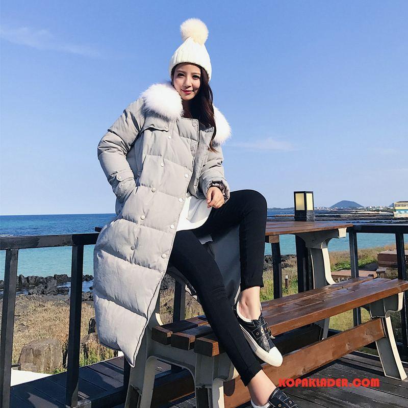 Dam Dunjackor Billig Elegant Vinter Trend Eleganta Slim Fit Grå