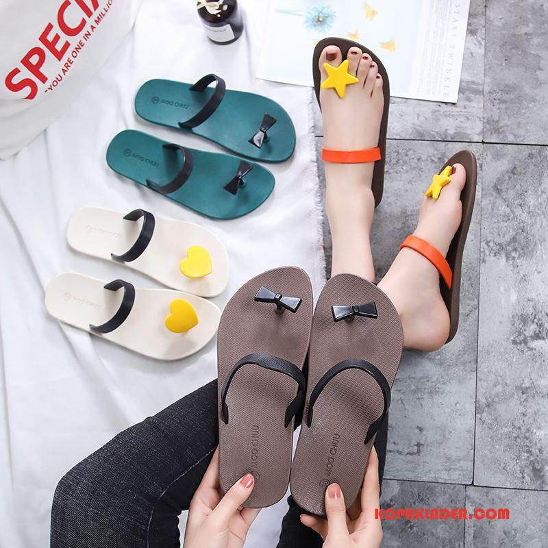 Dam Flip-flops Online Kvinna Stranden Glidskydds Mode Flip Flops Blandade Färger Grön