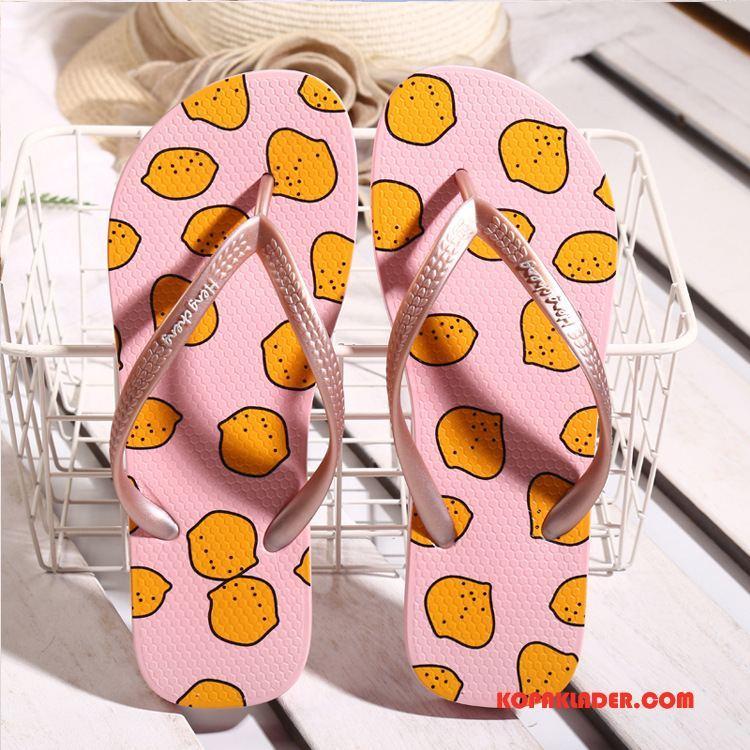 Dam Flip-flops På Rea Kvinna Mode Flip Flops Sommar Tofflor Gul Orange