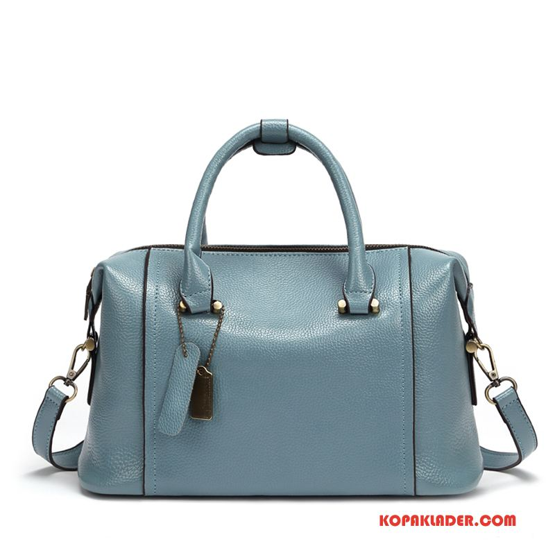 Dam Handväskor Billigt Kvinna Kudde Äkta Läder Ny Väska Ljusblå