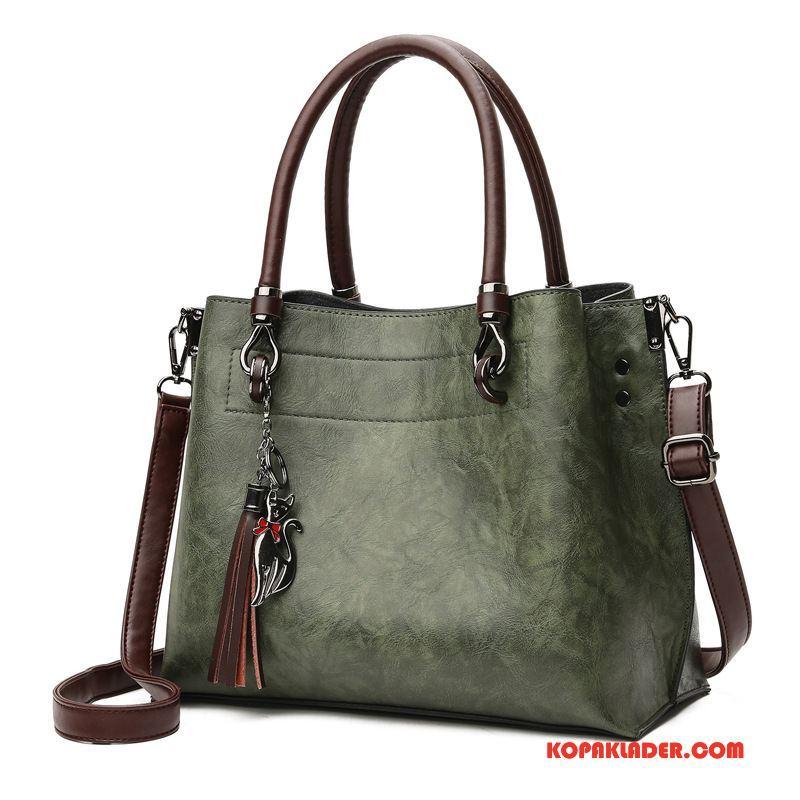 Dam Handväskor Köpa Europa Mode Stor Väska Med Tofsar Ny Grön