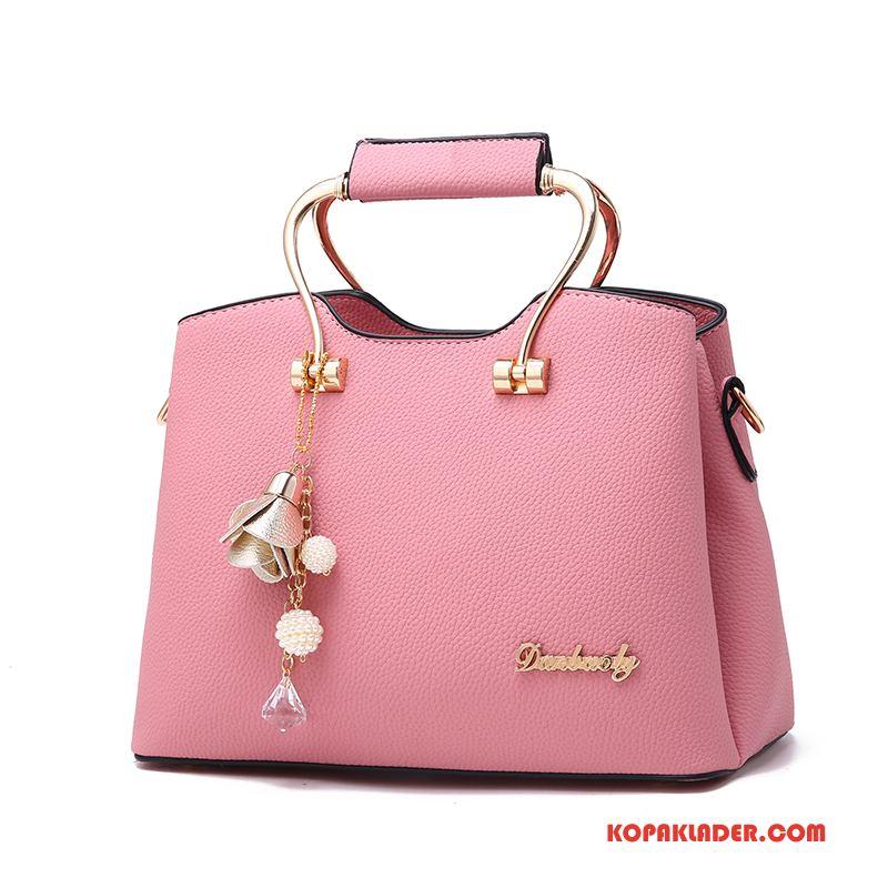 Dam Handväskor Köpa Trend Allt Matchar Enkel Mjukt Läder Elegant Rosa Röd