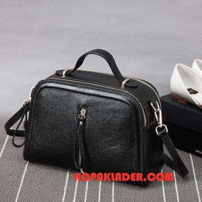 Dam Handväskor På Rea Mode Läder Äkta Läder Väska Messenger Väska Svart