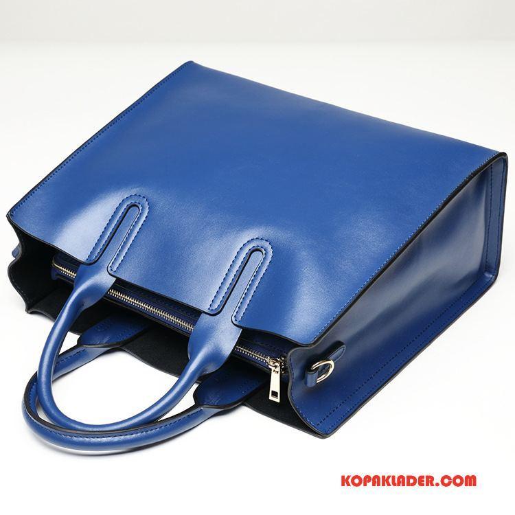 Dam Handväskor På Rea Väska Äkta Läder Stor Kapacitet Stor Väska Kvinna Blå