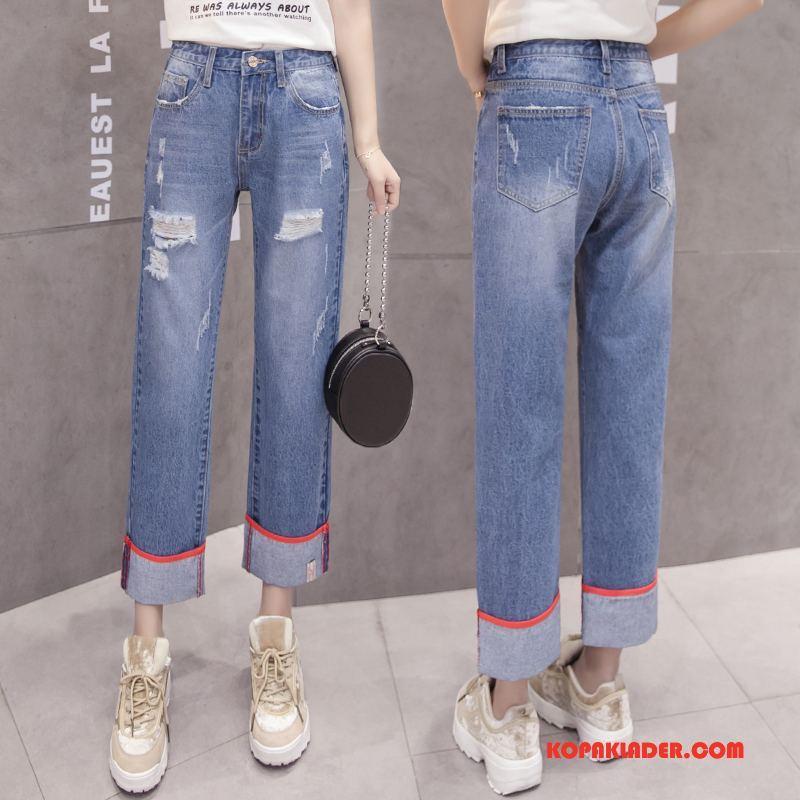Dam Jeans Billigt Hög Midja Mode Trend Casual Tunn Blå