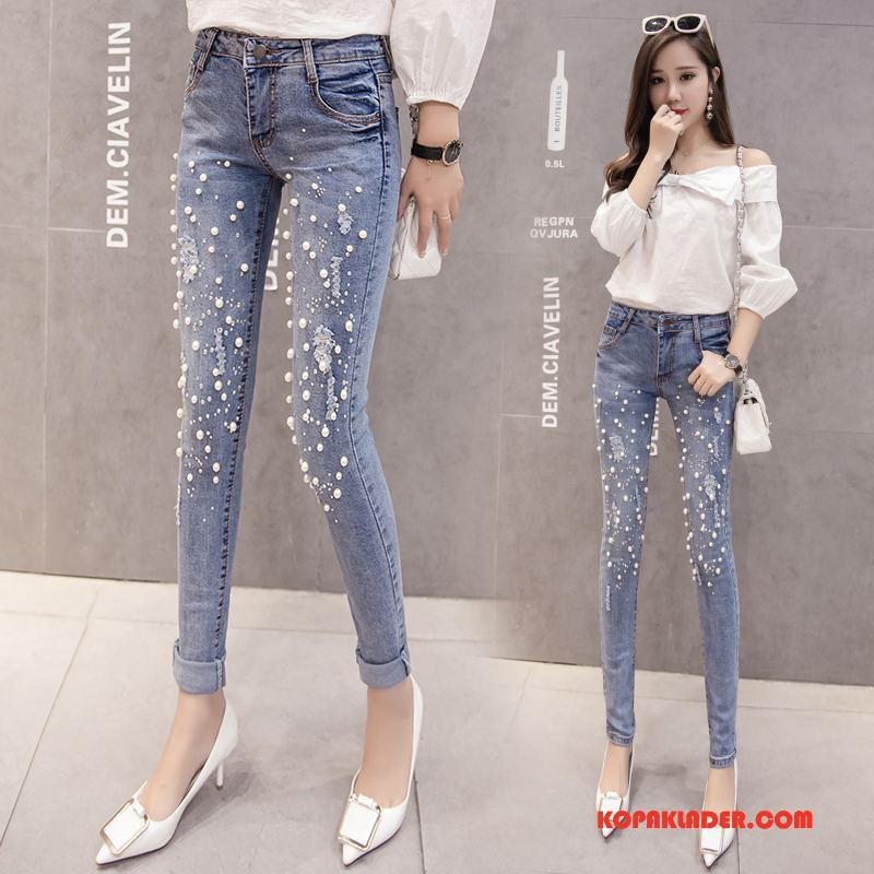 Dam Jeans Billigt Sy Mode 2018 Cigarettbyxor Elegant Ljusblå