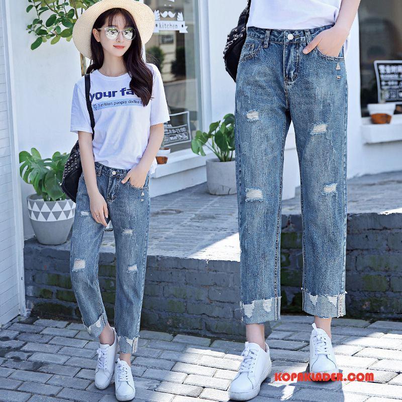 Dam Jeans Köpa Mode Elegant 2018 Trend Casual Guld Blå Vit