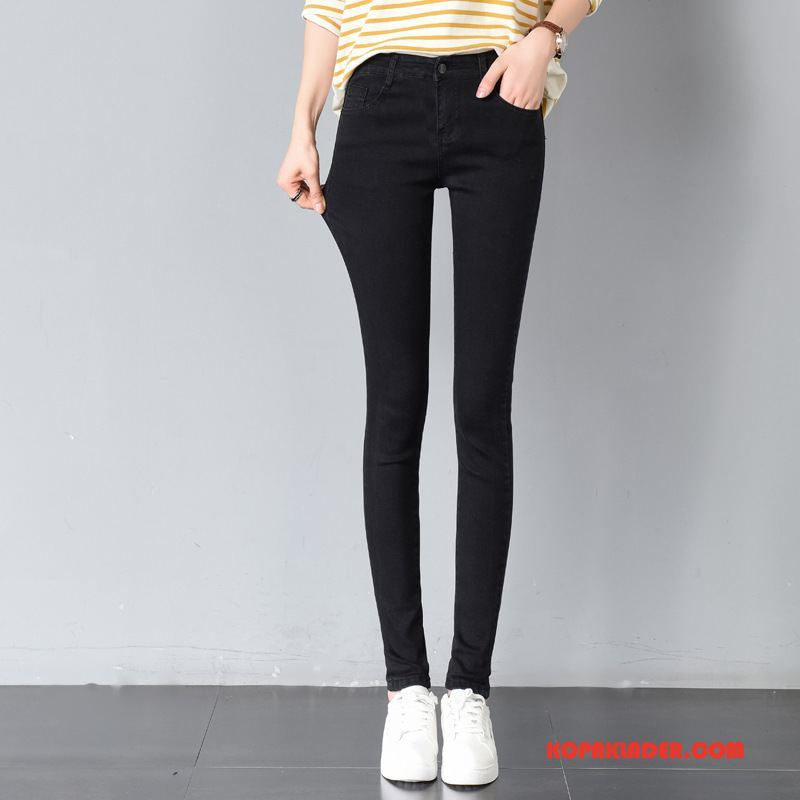 Dam Jeans Online Liten Trend Tunn Byxor Mode Svart