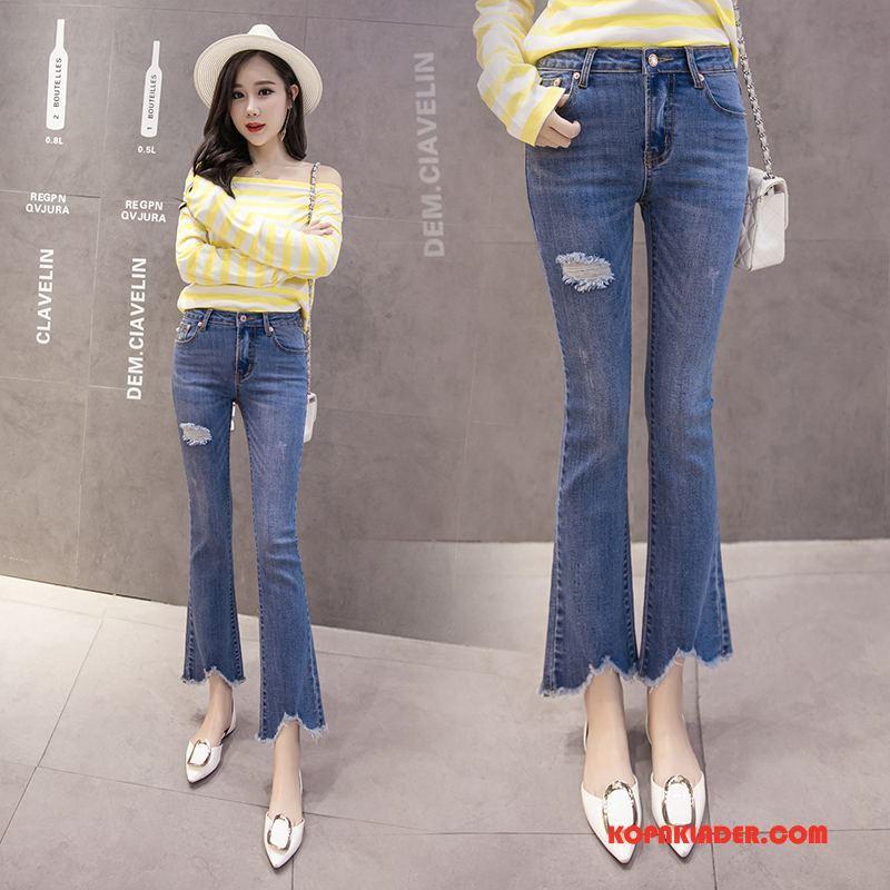 Dam Jeans På Nätet Elegant Handgjort Casual Mode Trend Till Blå
