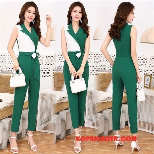 Dam Jumpsuit Online Mode Hög Midja Upp Till Midjan Elegant Trend Blandade Färger Grön