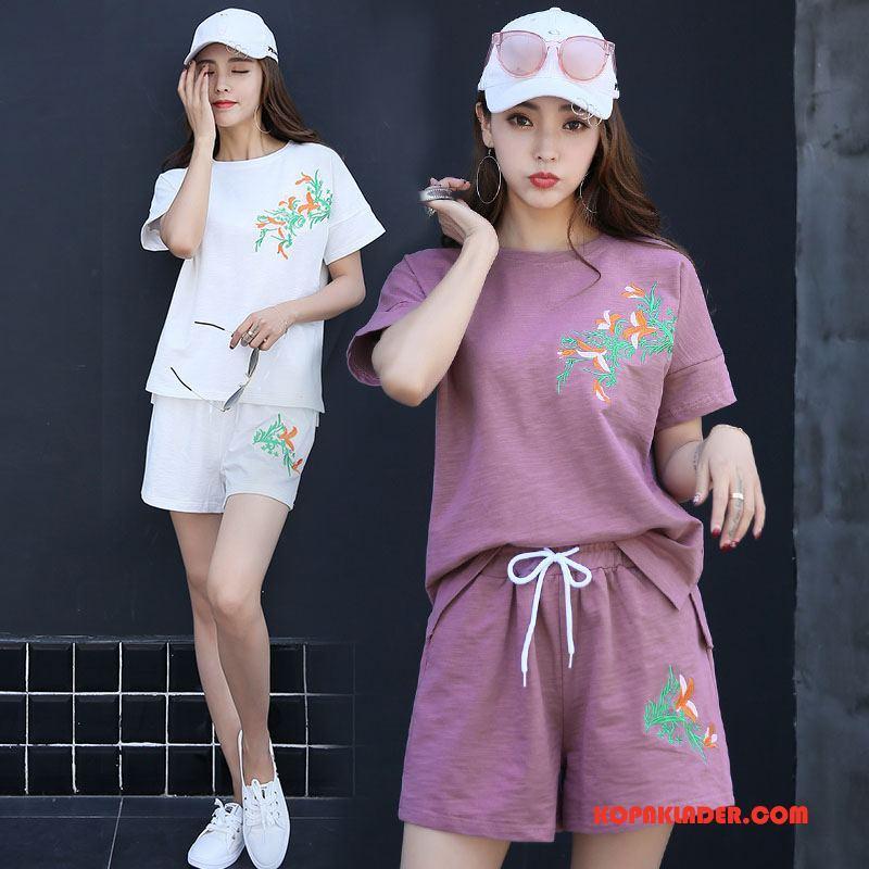 Dam Kostymer Till Salu Sommar Trend Rund Hals Mode 2018 Purpur