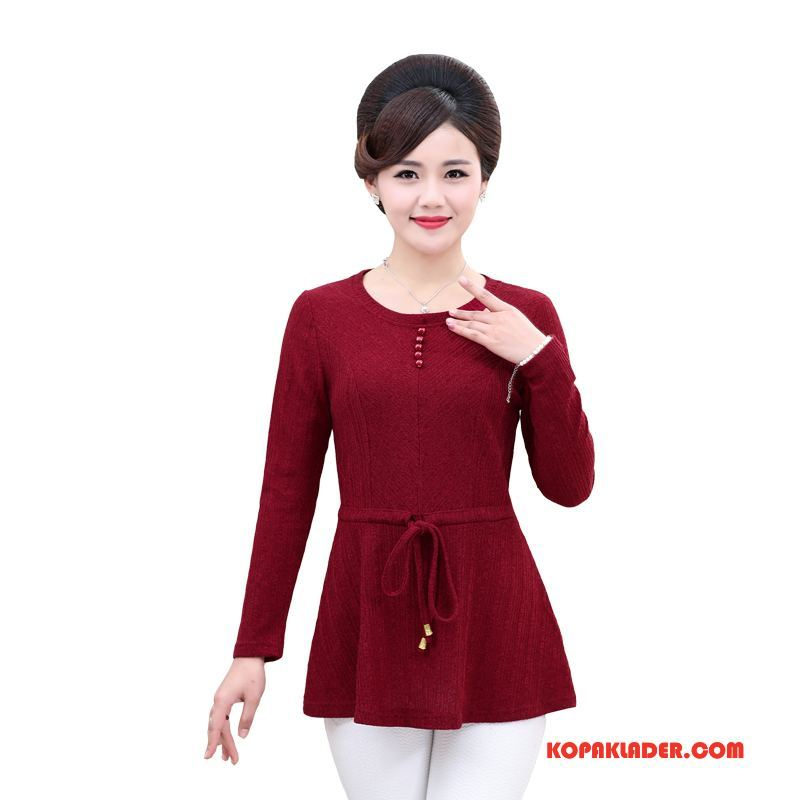 Dam Medelålders Kläder Rea Mode Vår Lösa Kvinna Pullover Röd