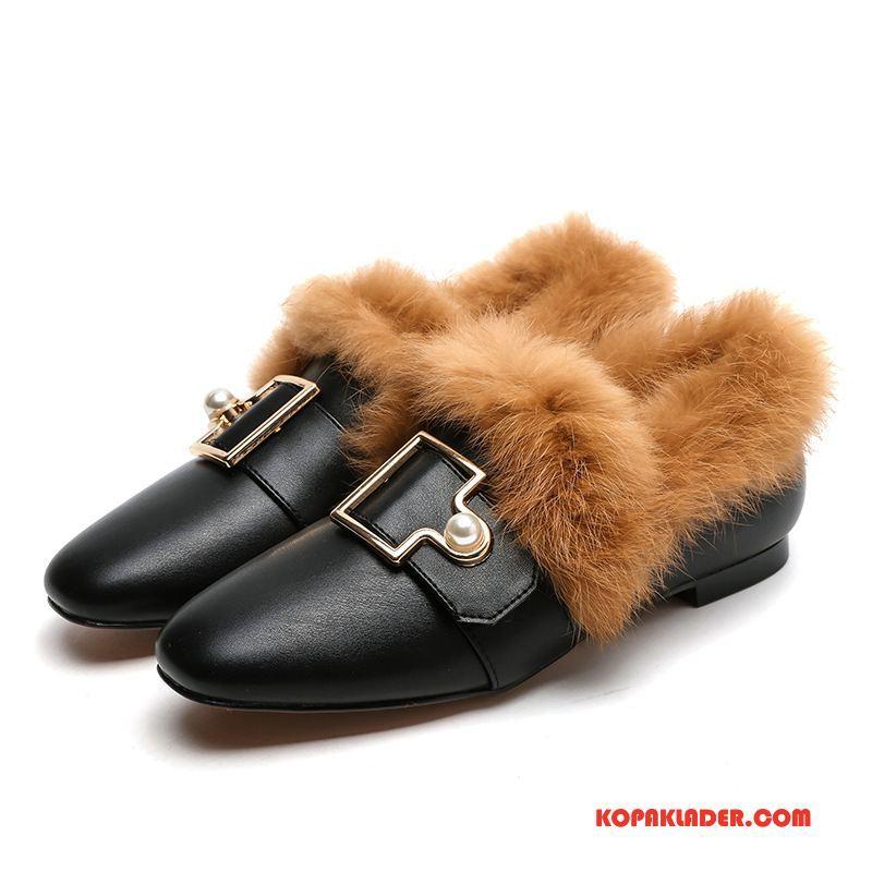 Dam Mockasiner Köpa Platta Skor Loafer British Ytterkläder Vinter Svart