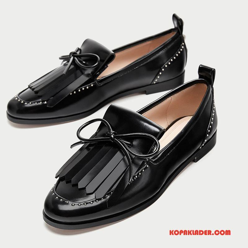 Dam Mockasiner Online Loafers Vintage Nitar Tofsar Låga Skor Svart