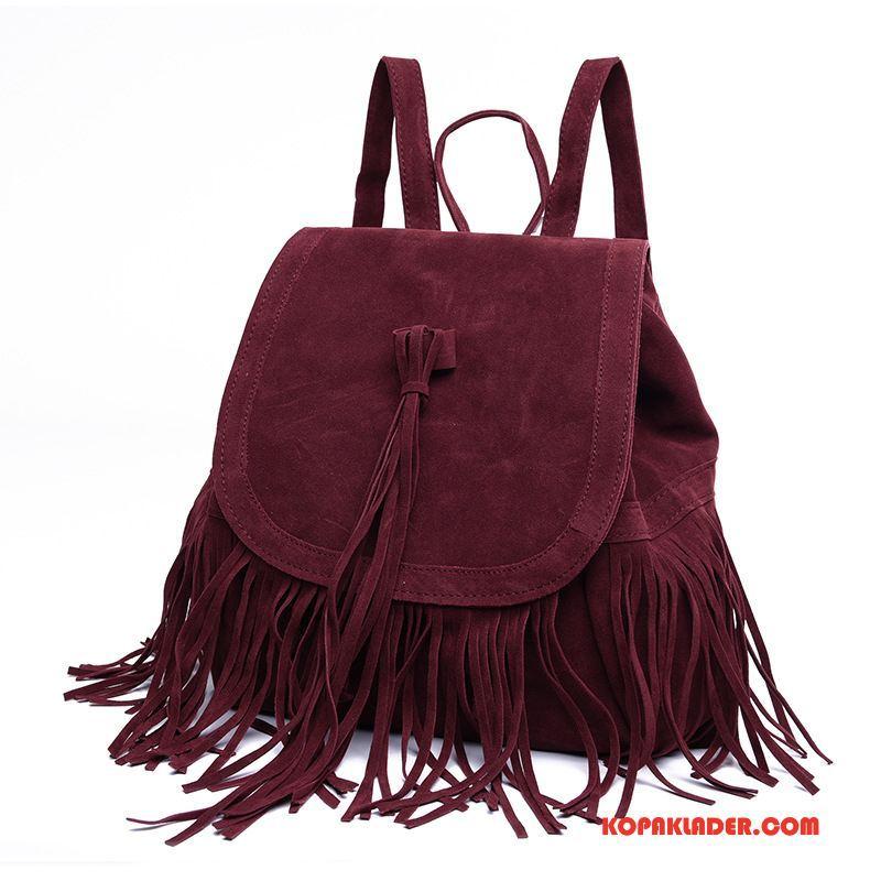 Dam Ryggsäckar Billigt Europa Resa Casual Väska Mode Röd