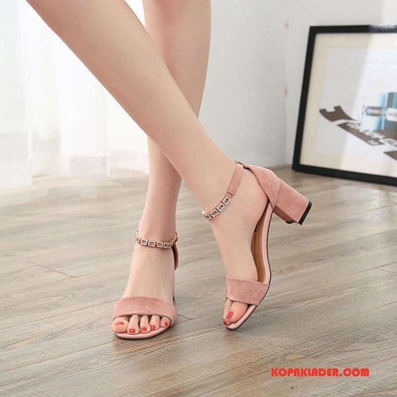 Dam Sandaler Billigt Kvinna Mode Elegant Tjock Sula Fisk Munnen Till Rosa