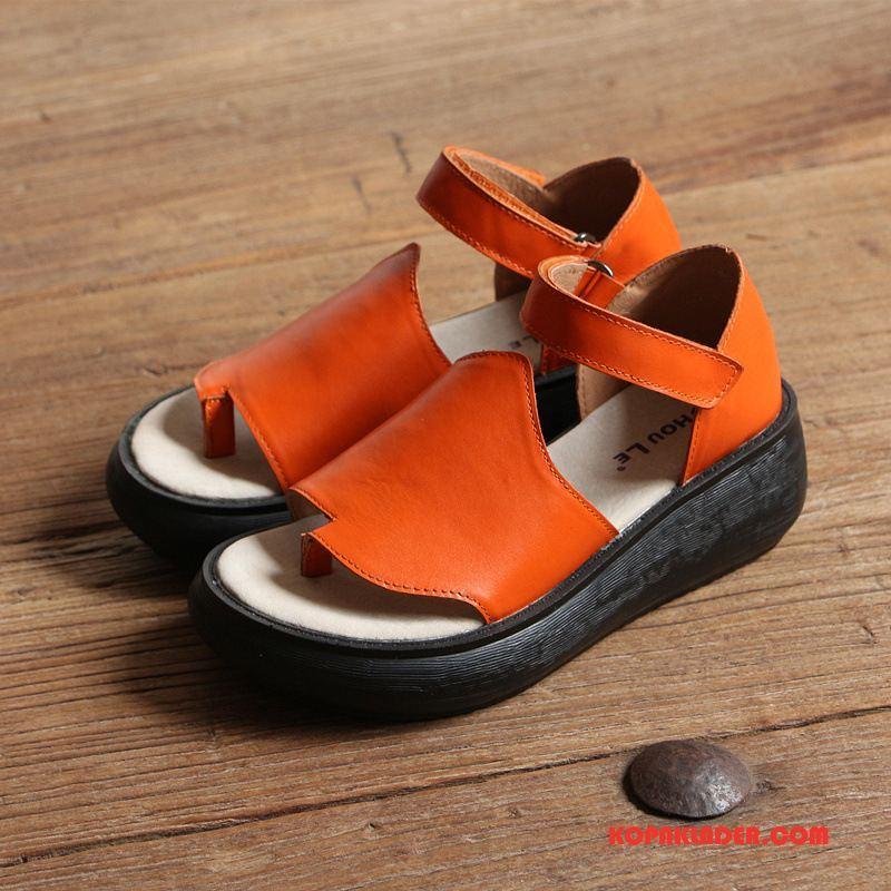Dam Sandaler Online Mjuka Casual Kvinna 2018 Sommar Orange