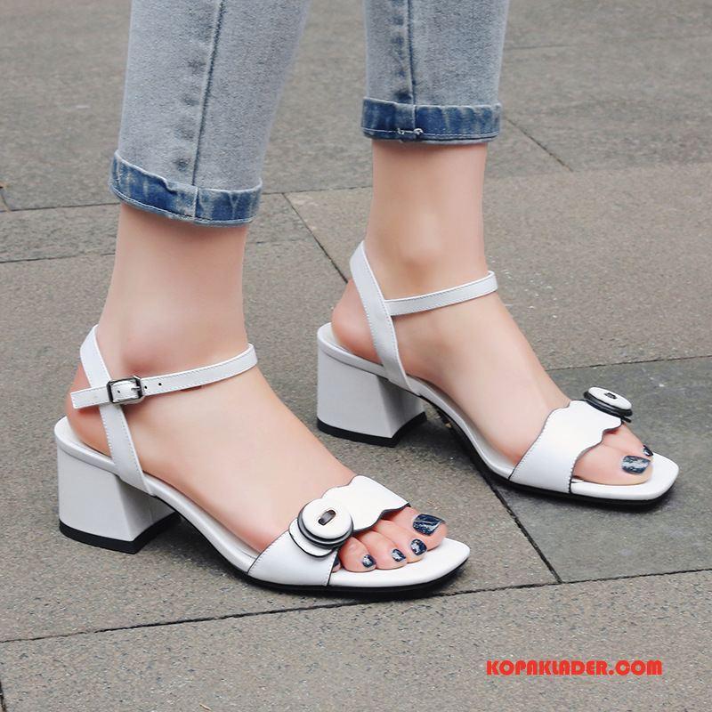 Dam Sandaler På Nätet Äkta Läder Kvinna Trend Skor Tjock Sula Till Vit