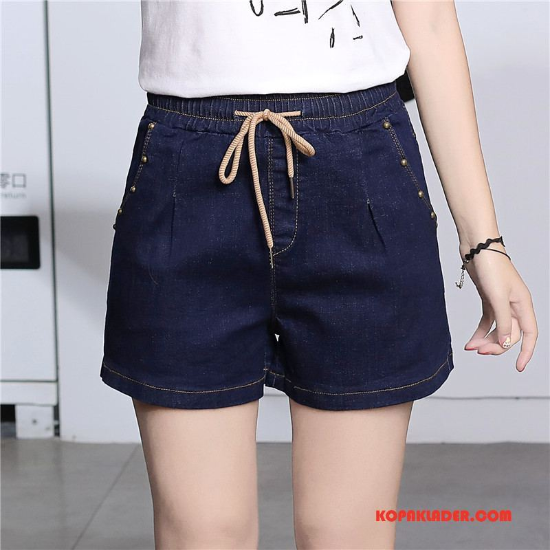 Dam Shorts Köpa Trend Eleganta Kortbyxor Slim Fit Populär Blå