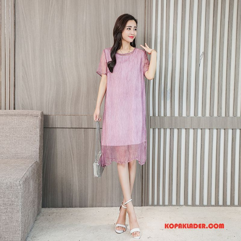 Dam Sidenklänning Billigt Silke Trend Eleganta Mode Tvådelad Kostym Purpur