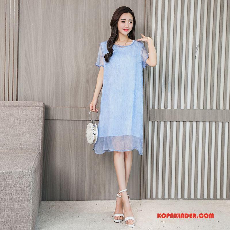 Dam Sidenklänning På Nätet Trend Mode Långa Eleganta Toppar Blå