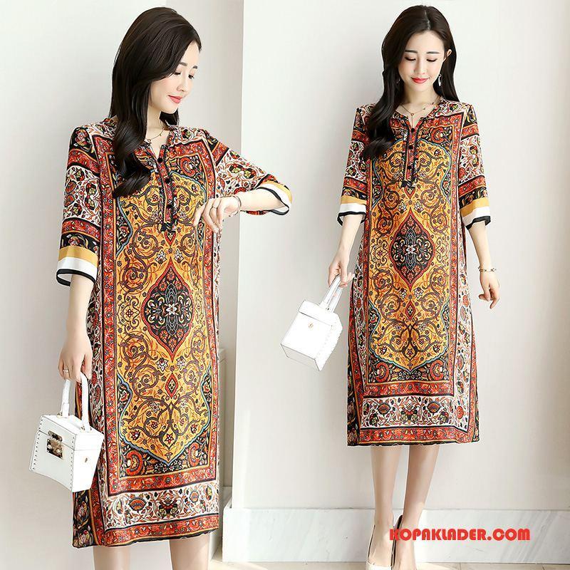 Dam Sidenklänning Rea Eleganta Silke Sommar Mode Blommor Gul