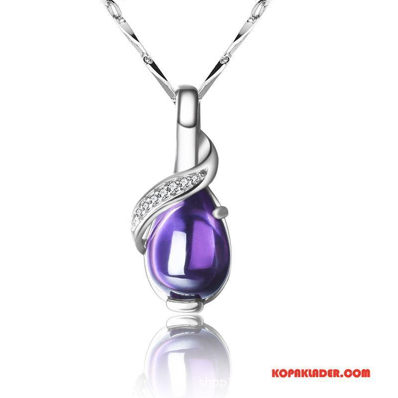 Dam Silver Smycken Billig Kristall Ren Accessoar Kvinna Mode Silver Purpur