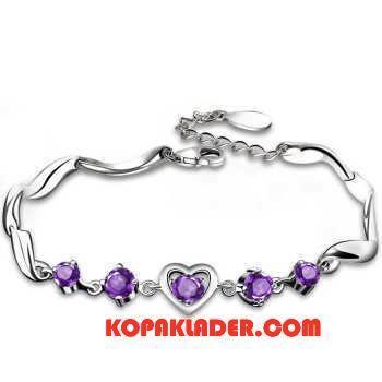 Dam Silver Smycken Billigt Hjärtformad Accessoar Kristall Kvinna Ny Silver Purpur