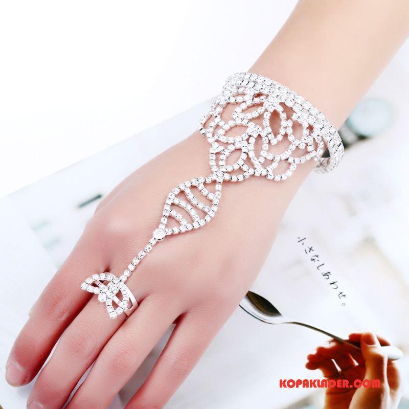 Dam Silver Smycken Butik Accessoar Brud Mode Tillbehör Europa Silver Vit