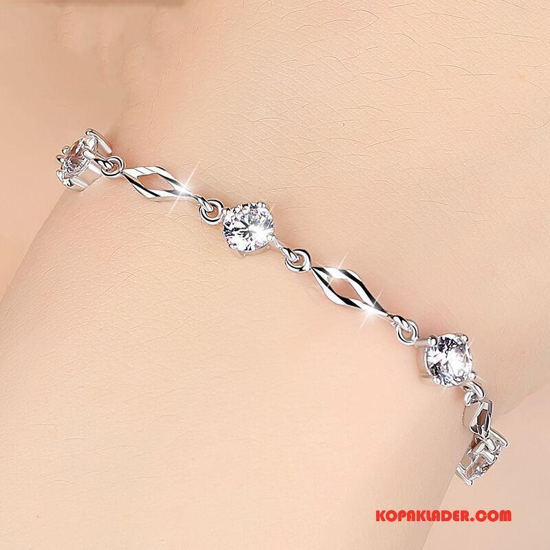 Dam Silver Smycken Online Kristall Armband Mode Enkel Söt Silver