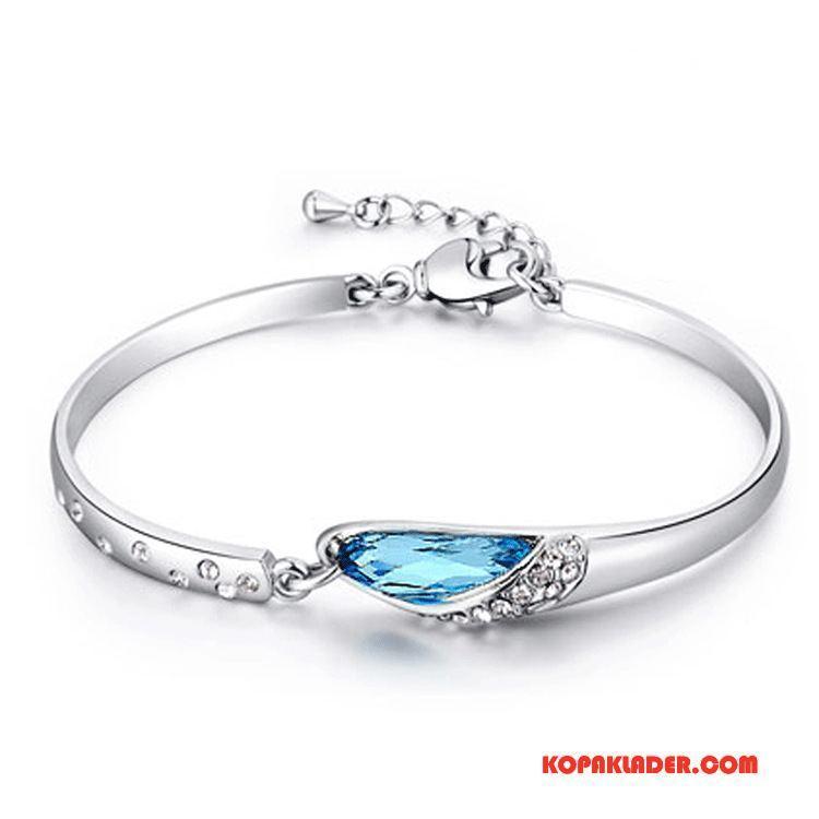 Dam Silver Smycken På Rea Ren Armband Kristall Mode Kvinna Silver Blå