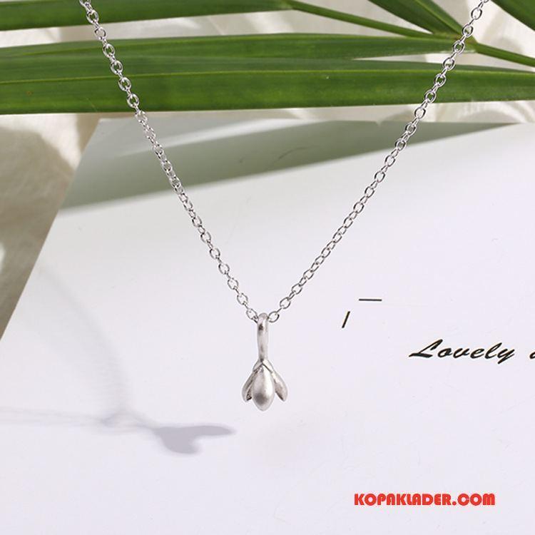 Dam Silver Smycken Rea Liten Bröstkorg Elegant Blommor Accessoar Kvinna Silver