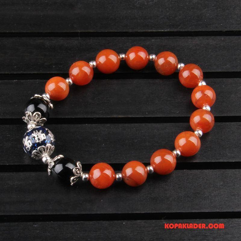 Dam Silver Smycken Rea Naturliga Kvinna Armband Kristall Accessoar Silver Röd