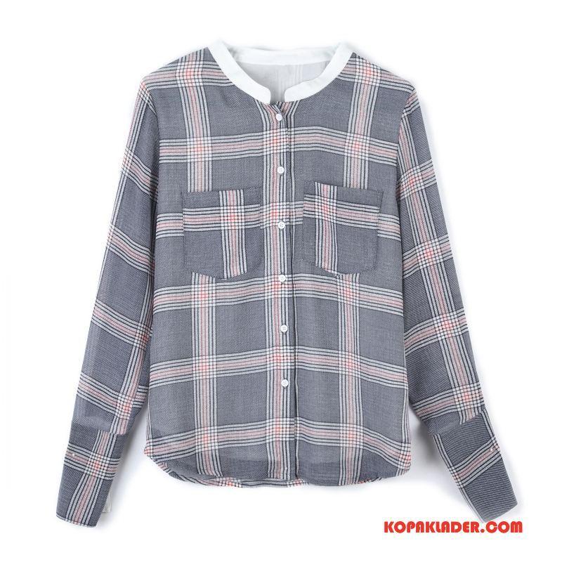 Dam Skjorta Köpa Casual Rutigt Trend Mode Rakt Grå