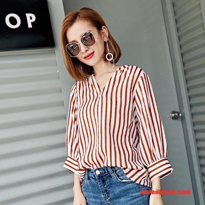 Dam Skjorta Online Slim Fit Personlighet Originalitet Design Pullover Röd