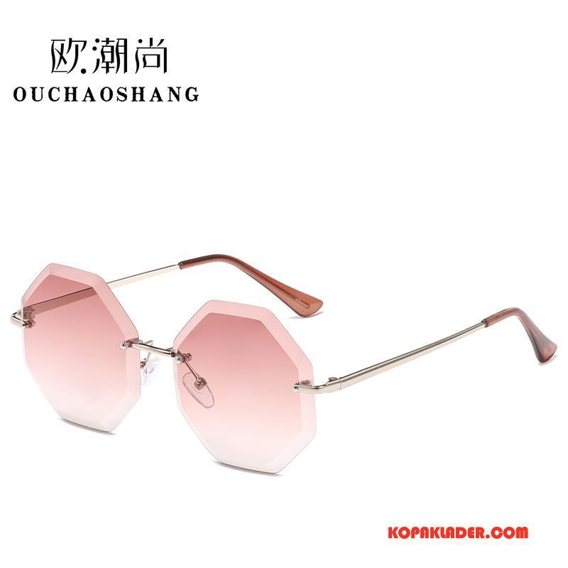 Dam Solglasögon Rea Kvinna Trend Ny Europa Guld Rosa